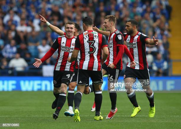 John Fleck of Sheffield United celebrates after scoring the opening goal during the Sky Bet Championship match between Sheffield Wednesday and...