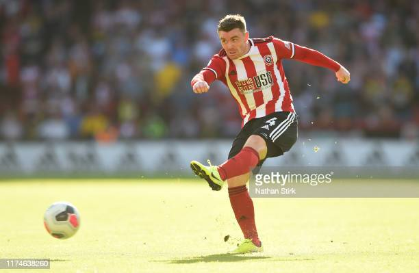 John Fleck of Sheffield United shoots during the Premier League match between Sheffield United and Southampton FC at Bramall Lane on September 14,...