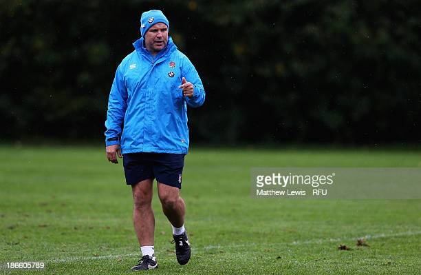 John Fletcher Coach of England in action during a training session at Loughborough University on November 1 2013 in Loughborough England