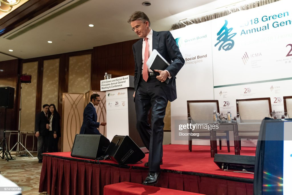 John Flint, chief executive officer of HSBC Holdings Plc, leaves the stage after speaking at the Green and Social Bond Principles annual general meeting and conference in Hong Kong, China, on Thursday, June 14, 2018. The one-day event was co-organized by the Hong Kong Monetary Authority (HKMA) and Hong Kong Financial Services Development Council (FSDC). Photographer: Anthony Kwan/Bloomberg via Getty Images