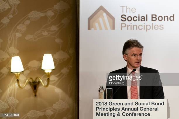 John Flint chief executive officer of HSBC Holdings Plc speaks during the Green and Social Bond Principles annual general meeting and conference in...