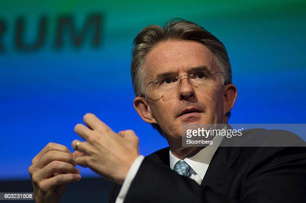 John Flint chief executive officer of retail ranking and wealth management for HSBC Holdings Plc speaks during the International Economic Forum Of...