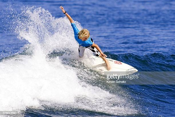 John Florence of the US age 14 surfs during the men's competition of the OP Pro World Qualifying Series part of the Vans Triple Crown of Surfing on...