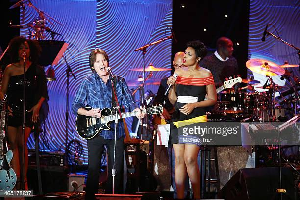 John Fogerty and Jennifer Hudson perform onstage during the Clive Davis and The Recording Academy present The Annual PreGRAMMY Gala held at The...