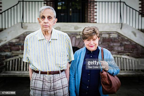John Forbes Nash Jr and Alicia de Lardé Nash pose for a photo on August 9 2014 in Princeton New Jersey