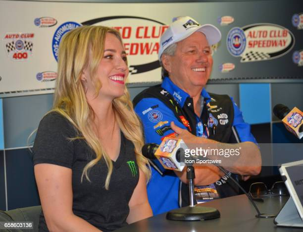 John Force 16time Funny Car champion and his daughter Brittany who also drives a Funny Car at the NASCAR Monster Energy Cup Series Auto Club 400 on...