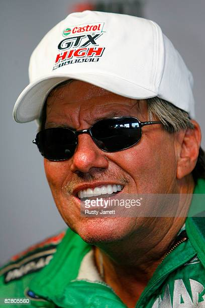 John Force driver of the Castrol GTX High Mileage funny car answer questions from the media after failing to qualify for the NHRA Carolinas Nationals...