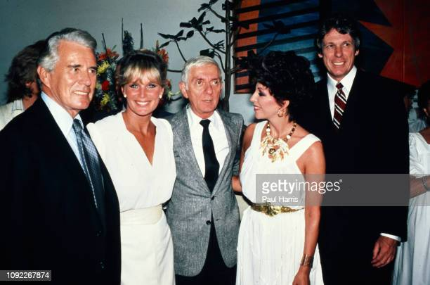 John Forsyth, Linda Evans, Aaron Spelling, Joan Collins and clothes designer Nolan Miller Aaron at a Dynasty celebration party at a Beverly Hills...