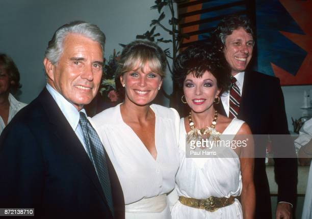 John Forsyth Linda Evans Joan Collins and clothes designer Nolan Miller Aaron at a Dynasty celebration party at a Beverly Hills Hotel on June 12 1991...