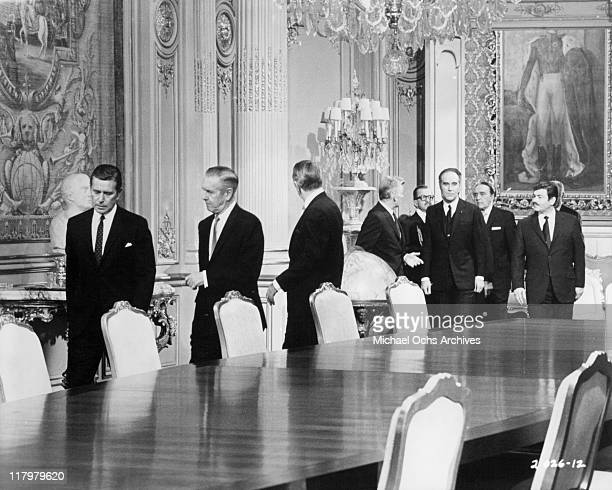 John Forsythe refuse to have a meeting with his delegation until Michael Piccoli has left the room in a scene from the film 'Topaz' 1969
