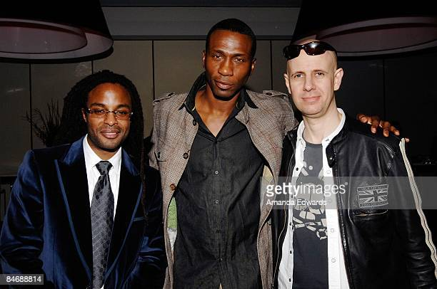 John Forte Leon and JK attend the Primary Wave Music Publishing preGrammy party at SLS Hotel on February 7 209 in Los Angeles California