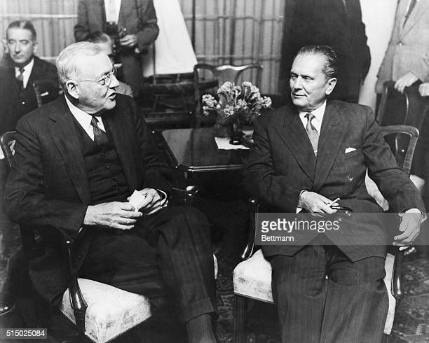 John Foster Dulles Conversing with Josip Broz Tito