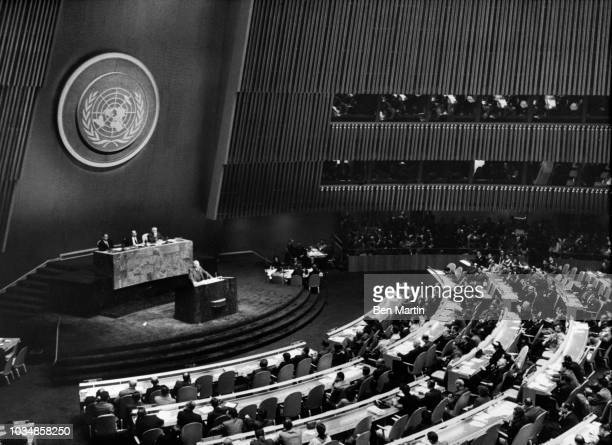 John Foster Dulles Secretary of State in Eisenhower administration addressing a United Nations session November 1 1957