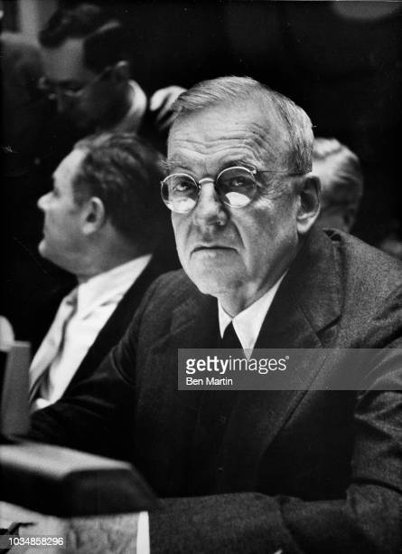 John Foster Dulles Secretary of State in Eisenhower administration in a United Nations Session November 1 1957