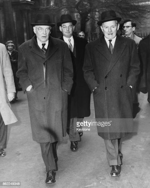 John Foster Dulles the US Secretary of State leaves the Foreign Office in London for 10 Downing Street with Selwyn Lloyd the British Foreign...