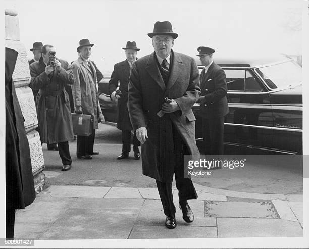 John Foster Dulles, US Secretary of State, arriving at the Foreign Office to meet Mr Eden, London, April 12th 1954.