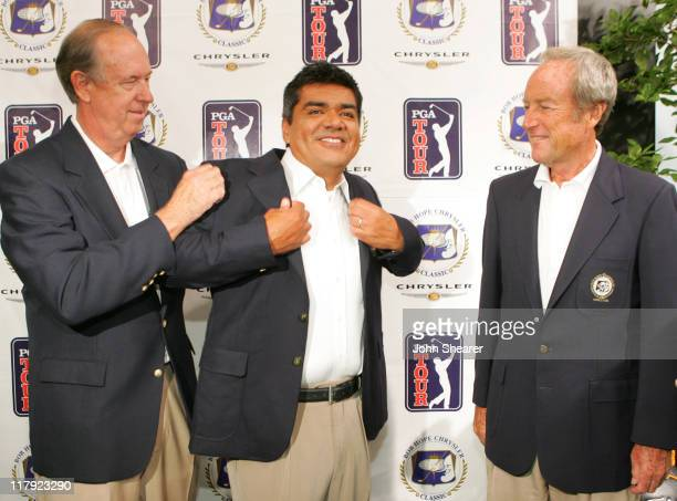 John Foster President of the Board of Directors for the Bob Hope Chrysler Classic George Lopez and Steve Morton member of the Executive Committee of...