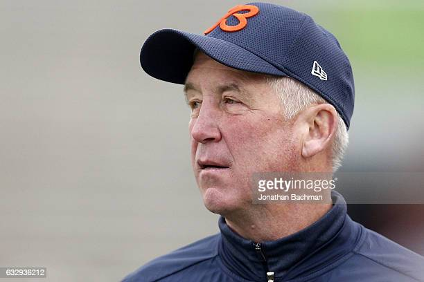 John Fox head coach of the Chicago Bears reacts during the second half of the Reese's Senior Bowl at the LaddPeebles Stadium on January 28 2017 in...
