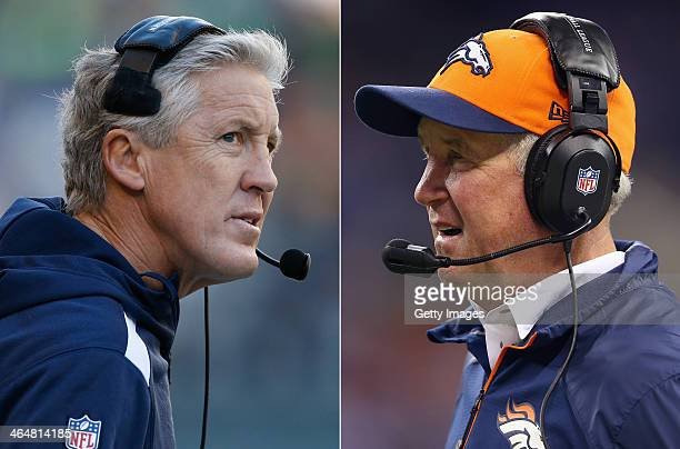 John Fox the head coach of the Denver Broncos gives instructions to his team during the game against the Indianapolis Colts at Lucas Oil Stadium on...