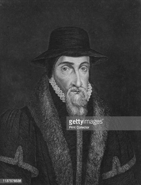 """John Foxe', . Portrait of English martyrologist John Foxe , author of """"History of the Acts and Monuments of the Church"""", known popularly as """"Foxe's..."""