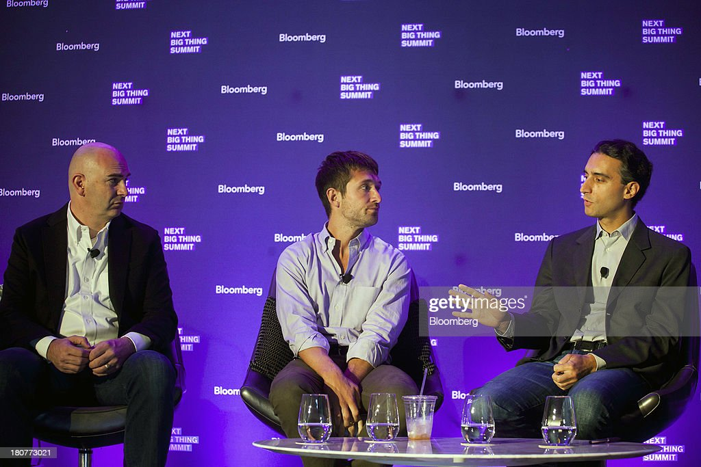John Frankel, founder and partner at ff Venture Capital, from left, Ben Lerer, managing director of Lerer Ventures and co-founder and chief executive officer of Thrillist Media Group, and Jeremy Levine, partner at Bessemer Venture Partners, participate in a panel discussion at the Bloomberg Next Big Thing Summit in New York, U.S., on Monday, Sept. 16, 2013. The conference convenes the most influential investors and industry leaders in innovation and science to explore the great frontiers of how technology is changing the way we live, work, and interact. Photographer: Michael Nagle/Bloomberg via Getty Images