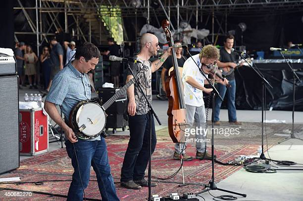 John Frazier and Sam Bush perform with Dave Johnston Adam Aijala and Ben Kaufmann of Yonder Mountain String Band at What Stage during day 4 of the...