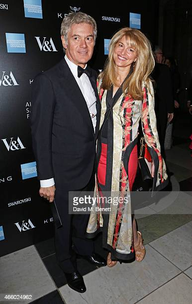 John Frieda and Avery Agnelli arrive at the Alexander McQueen Savage Beauty Fashion Gala at the VA presented by American Express and Kering on March...