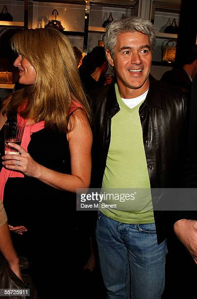 John Frieda and Frances Avery Agnelli attend the store relaunch party celebrating the refurbishment of the Versace London store at Sloane Street on...