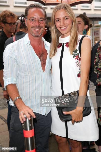John Friedmann and Annika Blendl during the Bree 'Urban Showroom' store opening on June 7 2018 in Munich Germany The Bree 'Urban Showroom' is a popup...