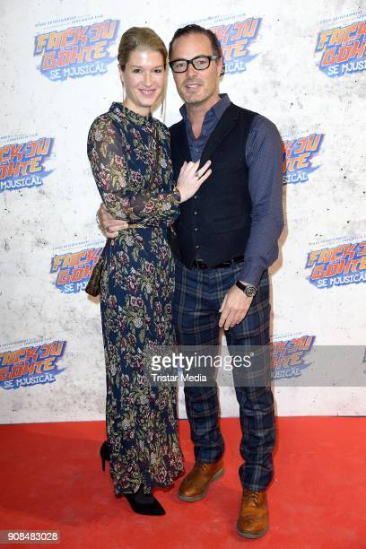 John Friedmann and his girlfriend Tini Fuchs attend the 'Fack ju Goehte Se Mjusicael' Musical Premiere on January 21 2018 in Munich Germany