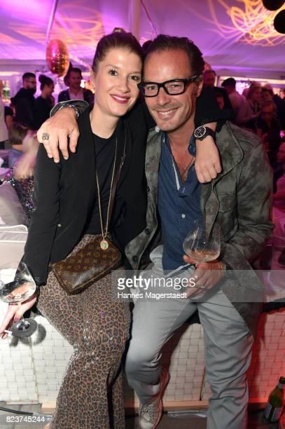 John Friedmann and his girlfriend Tini Fuchs during the H'ugo's 10th birthday celebration party at Hugo's on July 27 2017 in Munich Germany