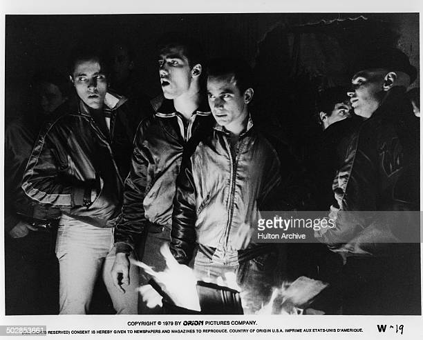John Friedrich Ken Wahl Alan Rosenberg look to fight in a scene from the Orion movie The Wanderers circa 1979
