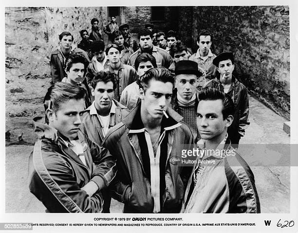 John Friedrich Ken Wahl and Alan Rosenberg pose with a gang for the Orion movie The Wanderers circa 1979