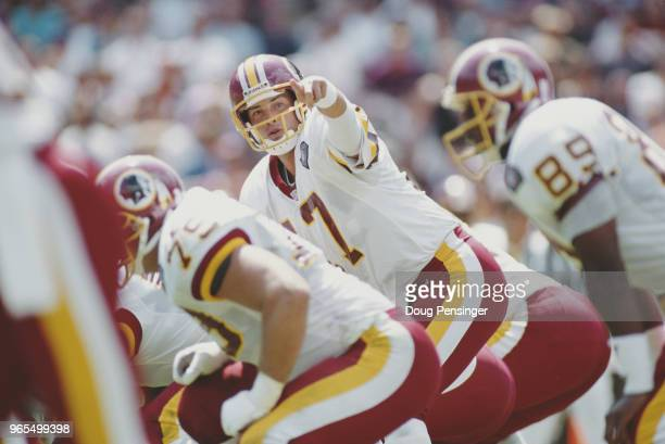 John Friesz Quarterback for the Washington Redskins calls the play on the line of scrimmage during the National Football Conference East game against...