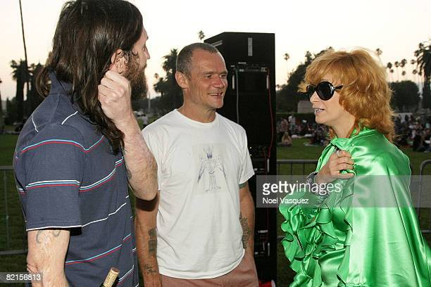 John Frusciante Flea and Linda Ramone attend the Tribute To Johnny Ramone at the Forever Hollywood Cemetery on August 1 2008 in Los Angeles California