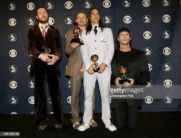 John Frusciante Flea Anthony Kiedis and Chad Smith of the Red Hot Chili Peppers winners Best Rock Album Best Rock Song for Dani California and Best...