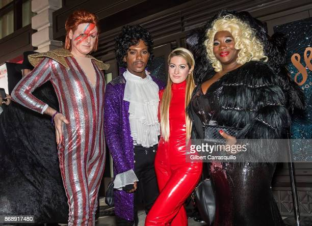 John Fugelsang Carlos Greer Elizabeth Wagmeister and Bevy Smith of Page Six TV are seen during Heidi Klum's 18th Annual Halloween Party at Magic Hour...
