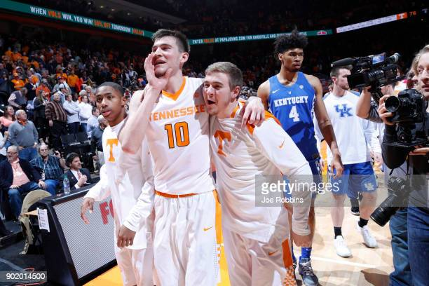 John Fulkerson of the Tennessee Volunteers celebrates with teammates after a game against the Kentucky Wildcats at ThompsonBoling Arena on January 6...