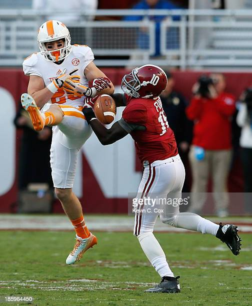 John Fulton of the Alabama Crimson Tide breaks up a pass intended for Josh Smith of the Tennessee Volunteers at BryantDenny Stadium on October 26...