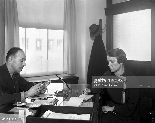 John G Gude CBS Radio press and publicity department and Ann Harding secretary Image dated May 1 1935 New York NY