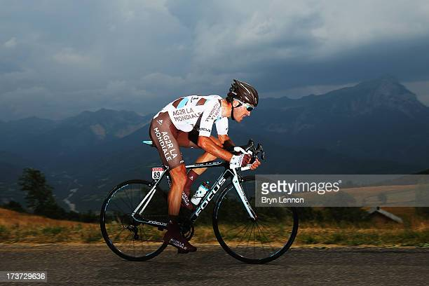 John Gadret of France and Team AG2R La Mondiale rides during stage seventeen of the 2013 Tour de France, a 32KM Individual Time Trial from Embrun to...
