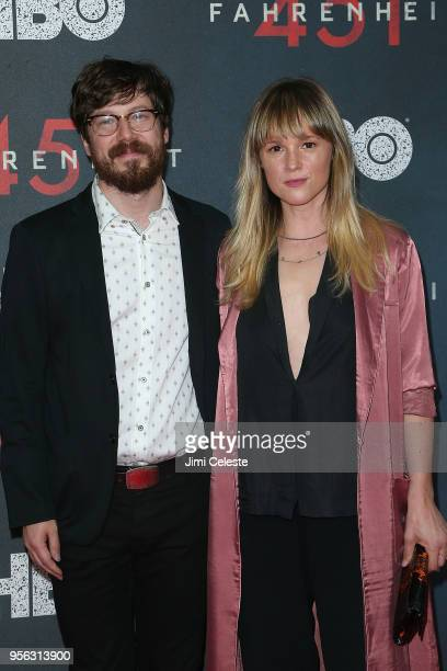 John Gallagher Jr and guest attends the New York premiere of 'Farenheit 451' at NYU Skirball Center on May 8 2018 in New York New York