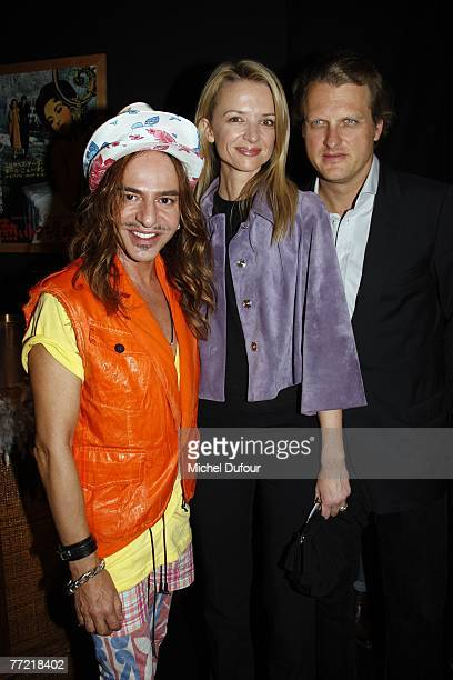 John Gallian Delphine Arnault and Alessandro Vallarino Gancia attend the John Galliano fashion show backstage during the Spring/Summer 2008...