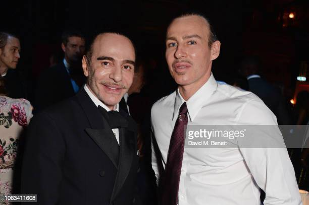 John Galliano and Alexis Roche attend The 64th Evening Standard Theatre Awards after party at the Theatre Royal Drury Lane on November 18 2018 in...