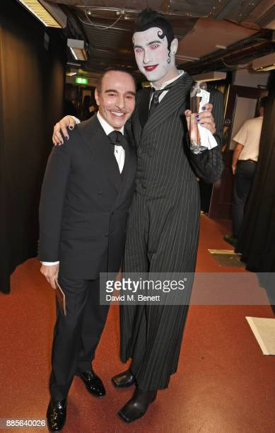 John Galliano and Charles Jeffrey winner of the British Emerging Talent award for Charles Jeffrey LOVERBOY pose backstage at The Fashion Awards 2017...