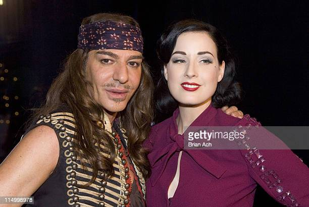 John Galliano and Dita Von Teese during Cruise 2008 Christian Dior Cocktail Party at 7 World Trade Center in New York City New York United States