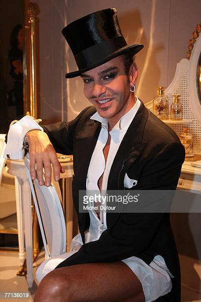 John Galliano backstage at the Christian Dior fashion show spring/summer 2008 at Epace ephemere jardin des Tuileries on October 1 2007 in Paris France
