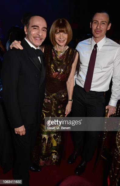 John Galliano Dame Anna Wintour and Alexis Roche attend The 64th Evening Standard Theatre Awards after party at the Theatre Royal Drury Lane on...