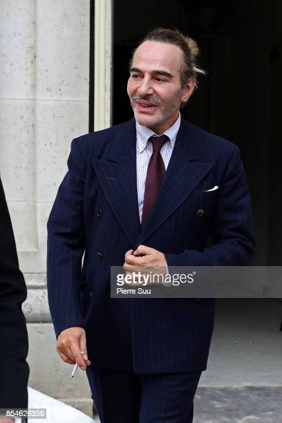 John Galliano is seen leaving the Maison Margiela show as part of the Paris Fashion Week Womenswear Spring/Summer 2018 on September 27, 2017 in...