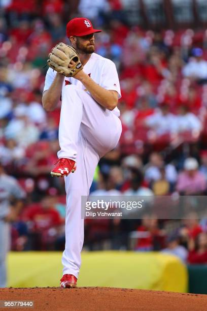 John Gant of the St Louis Cardinals delivers a pitch against the Minnesota Twins in the first inning at Busch Stadium on May 7 2018 in St Louis...